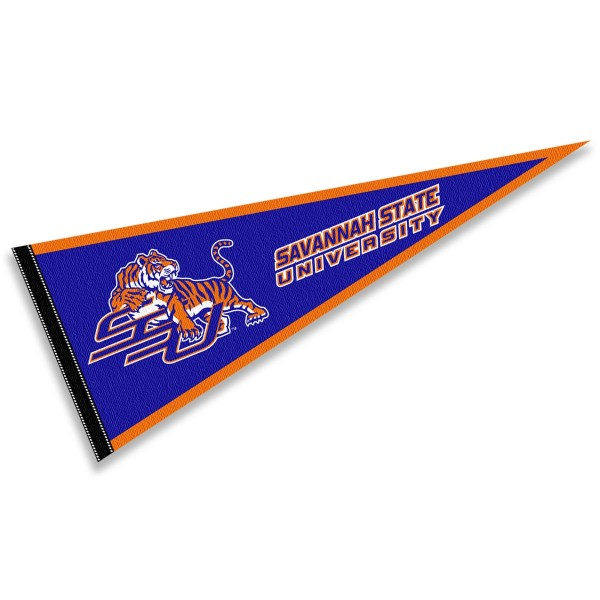 Savannah State Tigers Pennant consists of our full size sports pennant which measures 12x30 inches, is constructed of felt, is single sided imprinted, and offers a pennant sleeve for insertion of a pennant stick, if desired. This Savannah State Tigers Pennant Decorations is Officially Licensed by the selected university and the NCAA.