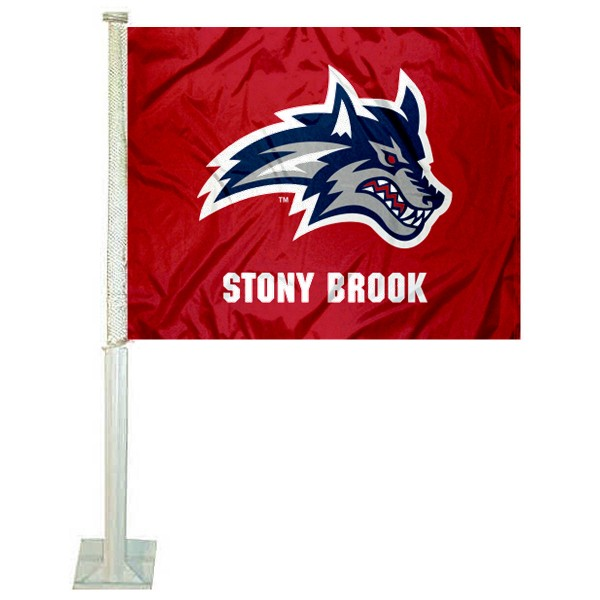 SBU Seawolves Logo Car Flag measures 12x15 inches, is constructed of sturdy 2 ply polyester, and has screen printed school logos which are readable and viewable correctly on both sides. SBU Seawolves Logo Car Flag is officially licensed by the NCAA and selected university.