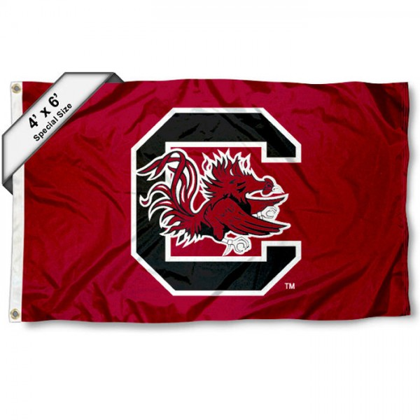 SC Gamecocks Large 4x6 Flag measures 4x6 feet, is made thick woven polyester, has quadruple stitched flyends, two metal grommets, and offers screen printed NCAA SC Gamecocks Large athletic logos and insignias. Our SC Gamecocks Large 4x6 Flag is officially licensed by SC Gamecocks and the NCAA.