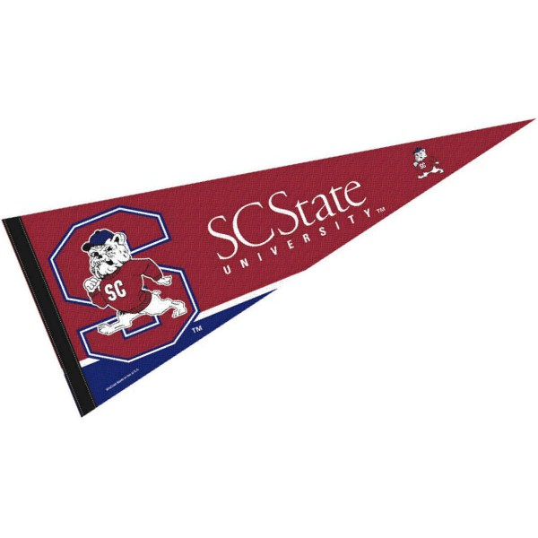 SCSU Bulldogs Pennant consists of our full size sports pennant which measures 12x30 inches, is constructed of felt, is single sided imprinted, and offers a pennant sleeve for insertion of a pennant stick, if desired. This South Carolina State University Felt Pennant is officially licensed by the selected university and the NCAA.