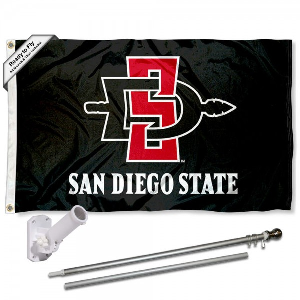 Our SDSU Aztecs Black Flag Pole and Bracket Kit includes the flag as shown and the recommended flagpole and flag bracket. The flag is made of nylon, has quad-stitched flyends, and the NCAA Licensed team logos are double sided screen printed. The flagpole and bracket are made of rust proof aluminum and includes all hardware so this kit is ready to install and fly.