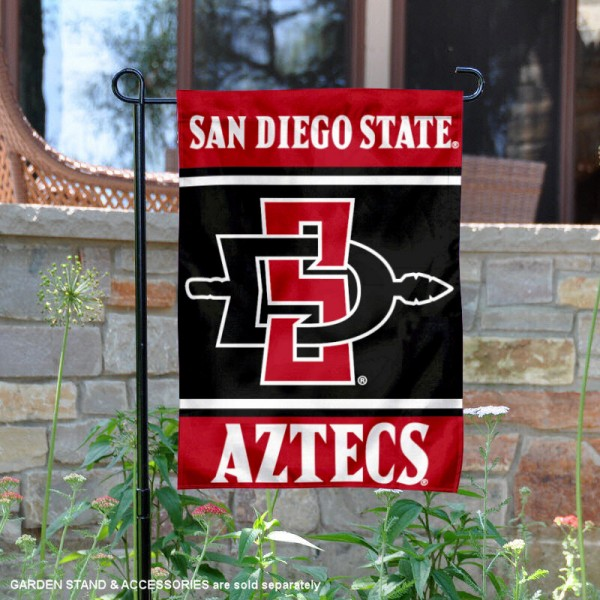 SDSU Aztecs Garden Flag is 13x18 inches in size, is made of 2-layer polyester, screen printed logos and lettering. Available with Same Day Express Shipping, Our SDSU Aztecs Garden Flag is officially licensed and approved by the NCAA.