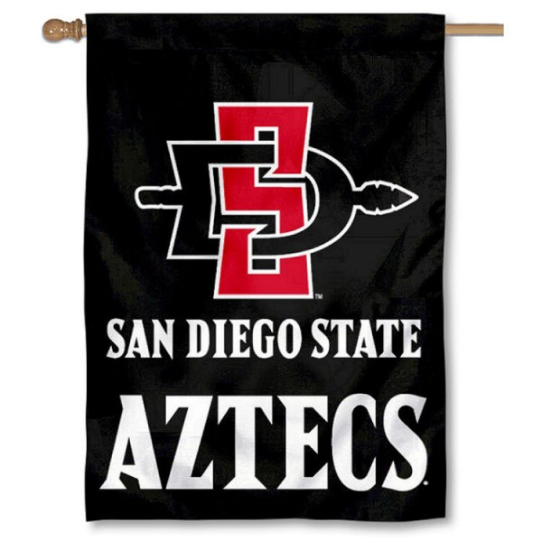 SDSU Aztecs House Flag is a vertical house flag which measures 28x40 inches, is made of 2 ply 100% nylon, offers dye sublimated NCAA team insignias, and has a top pole sleeve to hang vertically. Our San Diego State Aztecs House Flag is officially licensed by the selected university and the NCAA