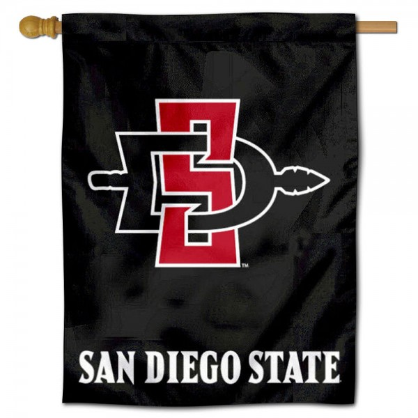 """SDSU Aztecs House Flag is constructed of polyester material, is a vertical house flag, measures 30""""x40"""", offers screen printed athletic insignias, and has a top pole sleeve to hang vertically. Our SDSU Aztecs House Flag is Officially Licensed by SDSU Aztecs and NCAA."""