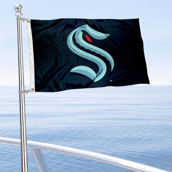 """Our Seattle Kraken Boat and Nautical Flag is 12""""x18"""", made of three-ply poly, has a solid header with two metal grommets, and is double sided. This Boat and Nautical Flag for Seattle Kraken is Officially Licensed by the NHL and can also be used as a motorcycle flag, boat flag, golf cart flag, or recreational flag."""