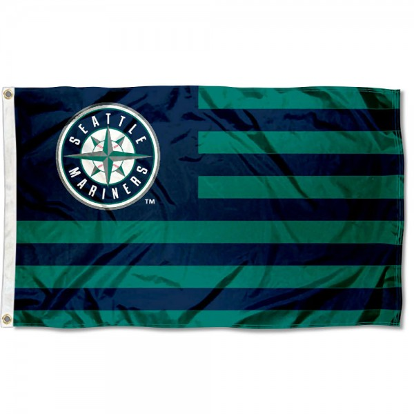Seattle Mariners Americana Nation Flag measures 3x5 feet, is made of polyester, offers quad-stitched flyends, has two metal grommets, and is viewable from both sides with a reverse image on the opposite side. Our Seattle Mariners Americana Nation Flag is Genuine MLB Merchandise.