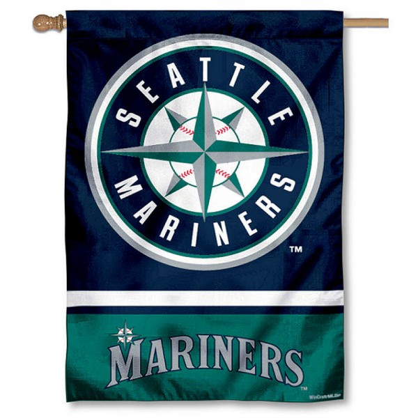 Seattle Mariners Double Sided House Flag is screen printed with Seattle Mariners logos, is made of 2-ply 100% polyester, and is two sided and double sided. Our banners measure 28x40 inches and hang vertically with a top pole sleeve to insert your banner pole or flagpole.