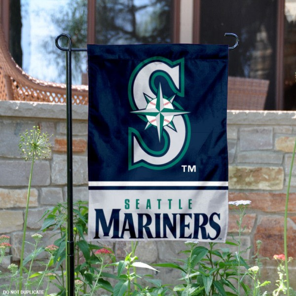 Seattle Mariners Garden Flag is 12.5x18 inches in size, is made of 2-ply polyester, and has two sided screen printed logos and lettering. Available with Express Next Day Shipping, our Seattle Mariners Garden Flag is MLB Genuine Merchandise and is double sided.