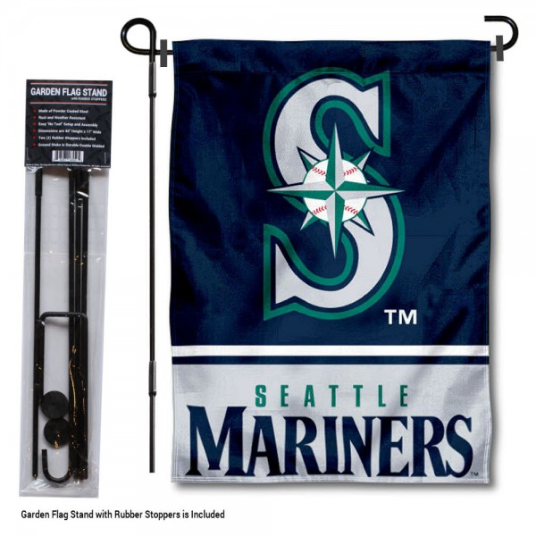 "Seattle Mariners Logo Garden Flag and Stand kit includes our 13""x18"" garden banner which is made of 2 ply poly with liner and has screen printed licensed logos. Also, a 40""x17"" inch garden flag stand is included so your Seattle Mariners Logo Garden Flag and Stand is ready to be displayed with no tools needed for setup. Fast Overnight Shipping is offered and the flag is Officially Licensed and Approved by the selected team."