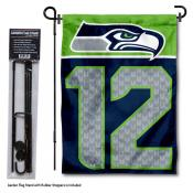 Seattle Seahawks 12th Man Garden Banner and Flag Stand