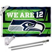 Seattle Seahawks 12th Man We are 12 Slogan Flag Pole and Bracket Kit