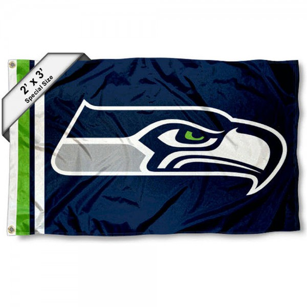 Seattle Seahawks 2x3 Feet Flag measures 2'x3', is made polyester, has quadruple stitched flyends, two metal grommets, and offers screen printed NFL Seattle Seahawks logos and insignias. Our Seattle Seahawks 2x3 Foot Flag is NFL Officially Licensed and approved.