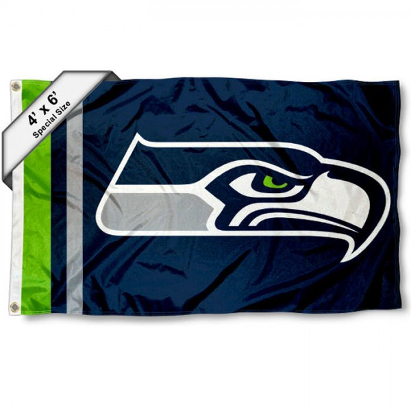 Seattle Seahawks 4x6 Flag measures a large 4x6 feet, is made polyester, has quadruple stitched flyends, two metal grommets, and offers screen printed NFL Seattle Seahawks logos and insignias. Our Seattle Seahawks 4x6 Foot Flag is NFL Officially Licensed and Seattle Seahawks approved.