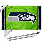 Seattle Seahawks Action Green Flag Pole and Bracket Kit
