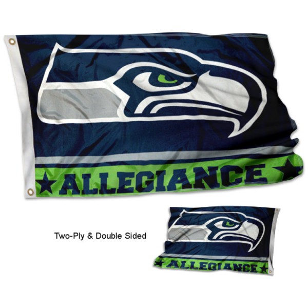 Seattle Seahawks Allegiance Flag measures 3'x5', is made of 2-ply double sided polyester with liner, has quadruple stitched sewing, two metal grommets, and has two sided team logos. Our Seattle Seahawks Allegiance Flag is officially licensed by the selected team and the NFL and is available with overnight express shipping.