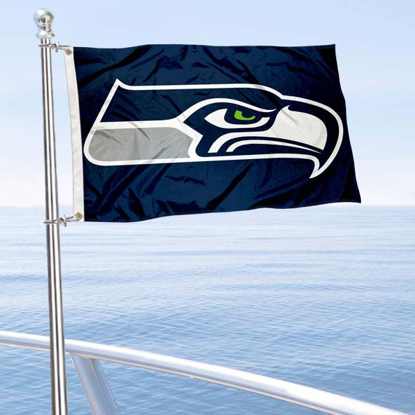 "Our Seattle Seahawks Boat and Nautical Flag is 12""x18"", made of three-ply poly, has a solid header with two metal grommets, and is double sided. This Boat and Nautical Flag for Seattle Seahawks is Officially Licensed by the NFL and can also be used as a motorcycle flag, boat flag, golf cart flag, or recreational flag."