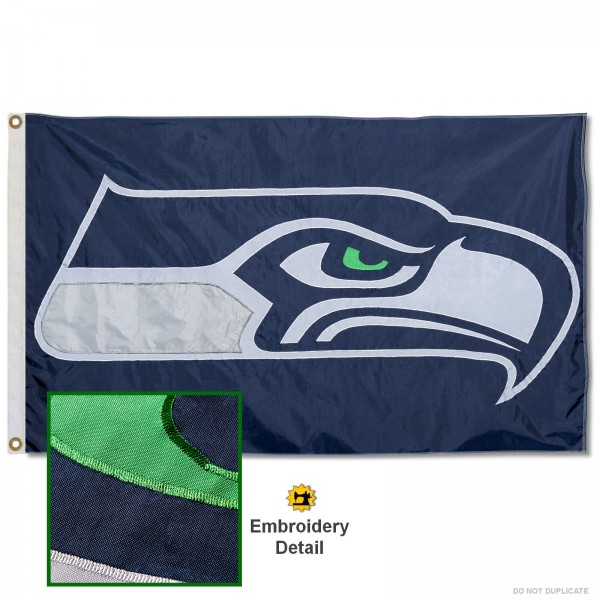 This Seattle Seahawks Embroidered Nylon Flag is double sided, made of nylon, 3'x5', has two metal grommets, indoor or outdoor, and four-stitched fly ends. These Seattle Seahawks Embroidered Nylon Flags are Officially Approved the Seattle Seahawks and NFL.