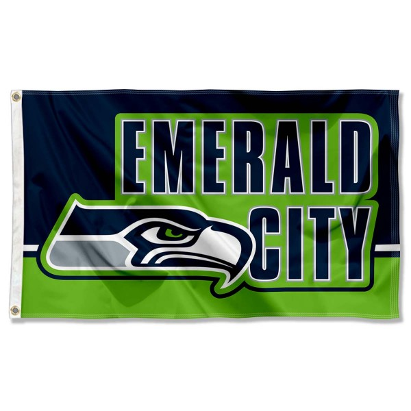 Our Seattle Seahawks Emerald City Flag is double sided, made of poly, 3'x5', has two metal grommets, indoor or outdoor, and four-stitched fly ends. These Seattle Seahawks Emerald City Flags are Officially Approved by the Seattle Seahawks.