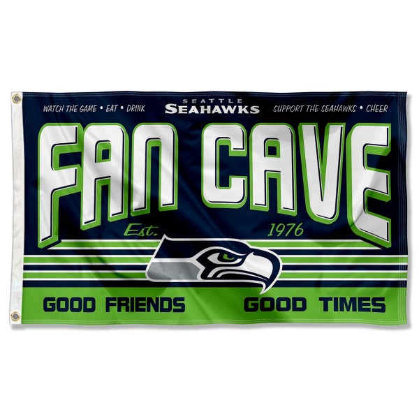 Our Seattle Seahawks Fan Cave Flag Large Banner is double sided, made of poly, 3'x5', has two metal grommets, indoor or outdoor, and four-stitched fly ends. These Seattle Seahawks Fan Cave Flag Large Banners are Officially Approved by the Seattle Seahawks.