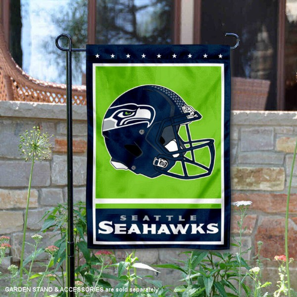 Seattle Seahawks Football Garden Banner Flag is 12.5x18 inches in size, is made of 2-ply polyester, and has two sided screen printed logos and lettering. Available with Express Next Day Ship, our Seattle Seahawks Football Garden Banner Flag is NFL Officially Licensed and is double sided.