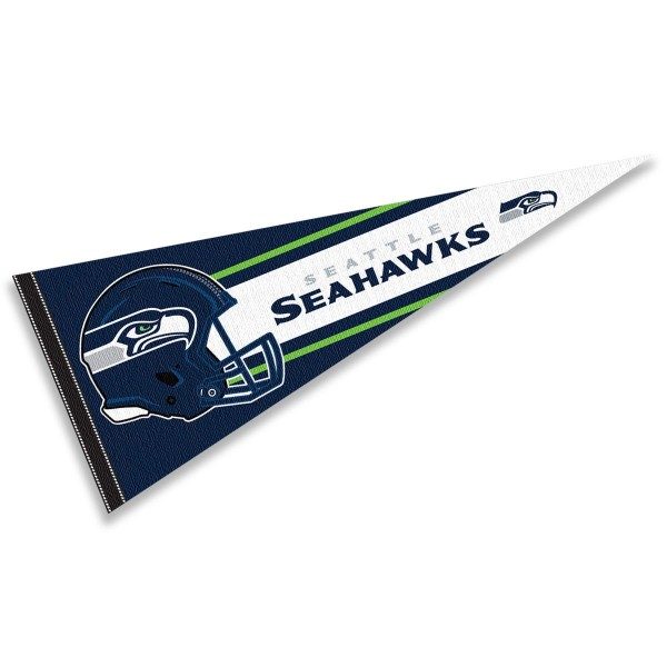 This Seattle Seahawks Football Pennant measures 12x30 inches, is constructed of felt, and is single sided screen printed with the Seattle Seahawks logo and helmets. This Seattle Seahawks Football Pennant is a NFL Officially Licensed product.