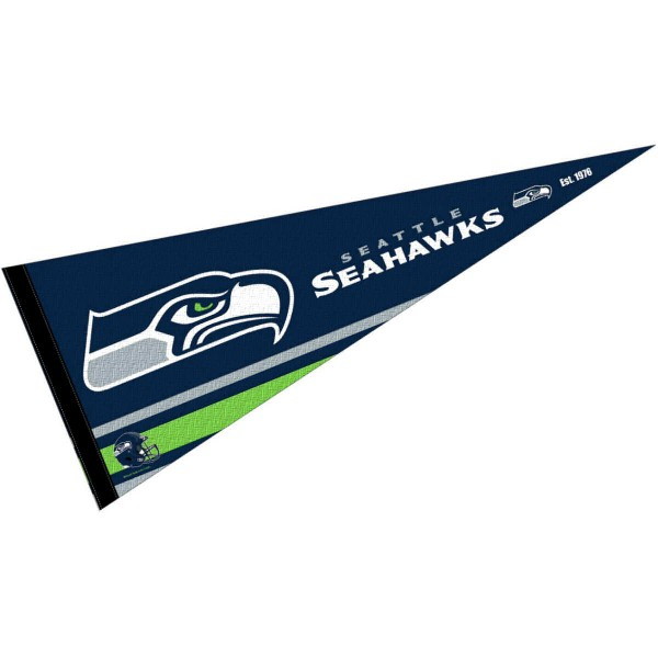 This Seattle Seahawks Full Size Pennant is 12x30 inches, is made of premium felt blends, has a pennant stick sleeve, and the team logos are single sided screen printed. Our Seattle Seahawks Full Size Pennant is NFL Officially Licensed.