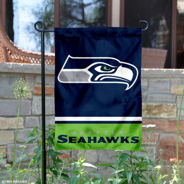 Seattle Seahawks Garden Flag is 12.5x18 inches in size, is made of 2-ply polyester, and has two sided screen printed logos and lettering. Available with Express Next Day Ship, our Seattle Seahawks Garden Flag is NFL Officially Licensed and is double sided.