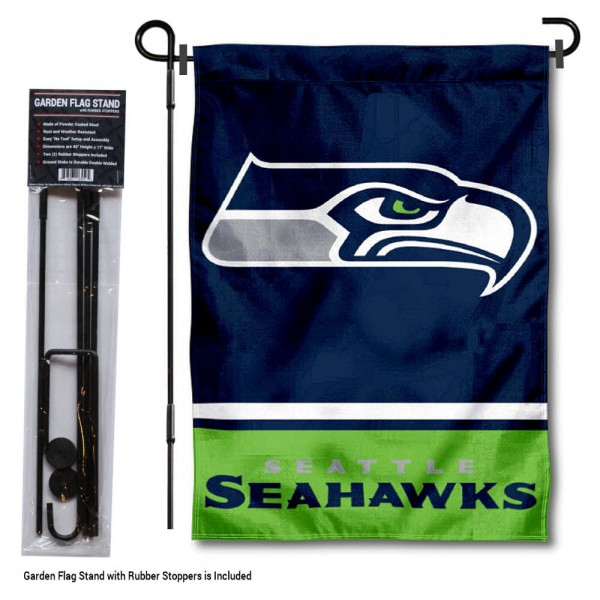 "Seattle Seahawks Garden Flag and Stand kit includes our 13""x18"" garden banner which is made of 2 ply poly with liner and has screen printed licensed logos. Also, a 40""x17"" inch garden flag stand is included so your Seattle Seahawks Garden Flag and Stand is ready to be displayed with no tools needed for setup. Fast Overnight Shipping is offered and the flag is Officially Licensed and Approved by the selected team."