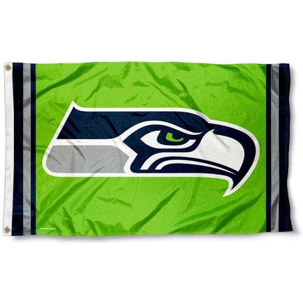 Our Seattle Seahawks Green Flag is double sided, made of poly, 3'x5', has two metal grommets, indoor or outdoor, and four-stitched fly ends. These Seattle Seahawks Green Flags are Officially Licensed by the NFL.