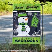 Seattle Seahawks Holiday Winter Snow Double Sided Garden Flag