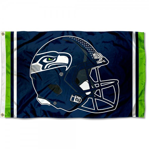 Our Seattle Seahawks New Helmet Flag is two sided, made of poly, 3'x5', Overnight Shipping, has two metal grommets, indoor or outdoor, and four-stitched fly ends. These Seattle Seahawks New Helmet Flags are Officially Approved by the Seattle Seahawks.