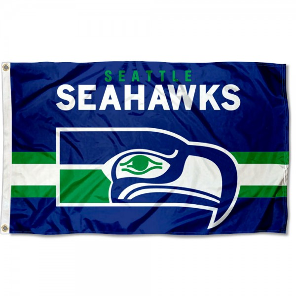 Our Seattle Seahawks Throwback Retro Vintage Logo Flag is double sided, made of poly, 3'x5', has two metal grommets, indoor or outdoor, and four-stitched fly ends. These Seattle Seahawks Throwback Retro Vintage Logo Flags are Officially Approved by the Seattle Seahawks.