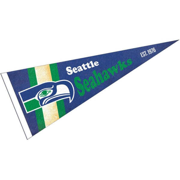 This Seattle Seahawks Throwback Vintage Retro Pennant is 12x30 inches, is made of premium felt blends, has a pennant stick sleeve, and the team logos are single sided screen printed. Our Seattle Seahawks Throwback Vintage Retro Pennant is NFL Officially Licensed.