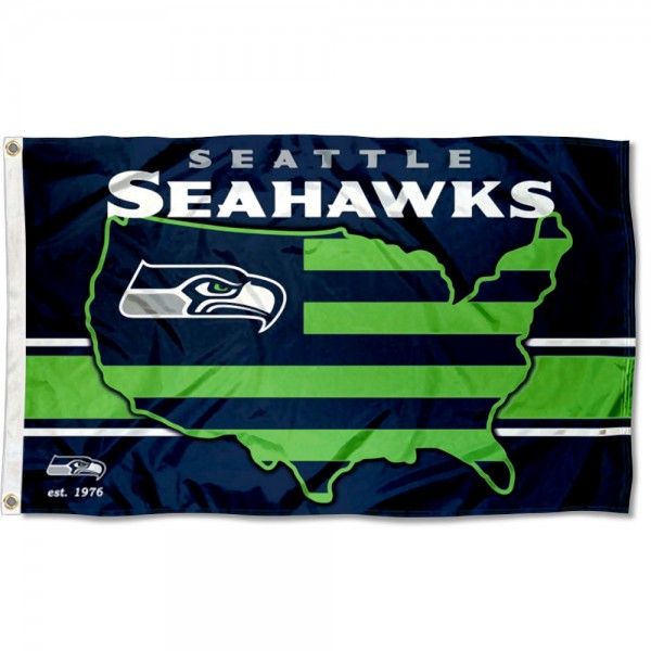 Our Seattle Seahawks USA Country Flag is double sided, made of poly, 3'x5', has two metal grommets, indoor or outdoor, and four-stitched fly ends. These Seattle Seahawks USA Country Flags are Officially Approved by the Seattle Seahawks.