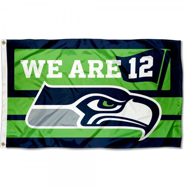 Our Seattle Seahawks We are 12 Flag is double sided, made of poly, 3'x5', has two metal grommets, indoor or outdoor, and four-stitched fly ends. These Seattle Seahawks We are 12 Flags are Officially Approved by the Seattle Seahawks.