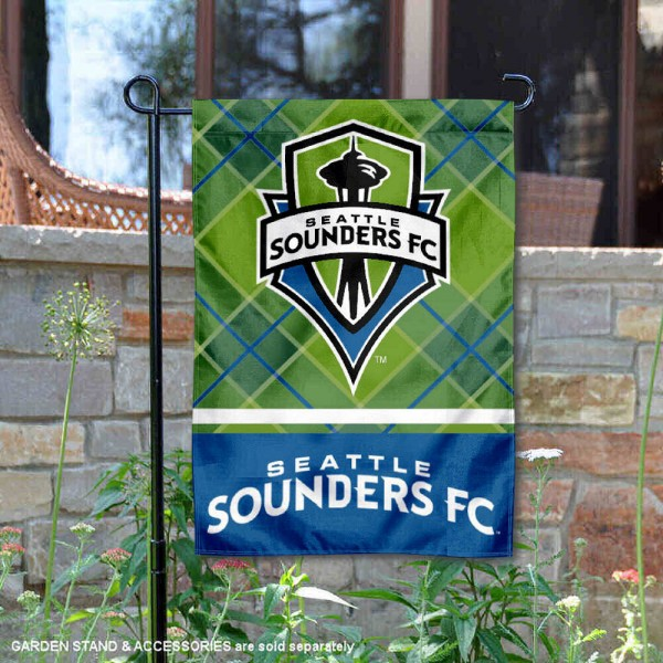 Seattle Sounders Garden Flag is 12.5x18 inches in size, is made of 2-ply polyester, and has two sided screen printed logos and lettering. Available with Express Next Day Shipping, our Seattle Sounders Garden Flag is MLS Genuine Merchandise and is double sided.
