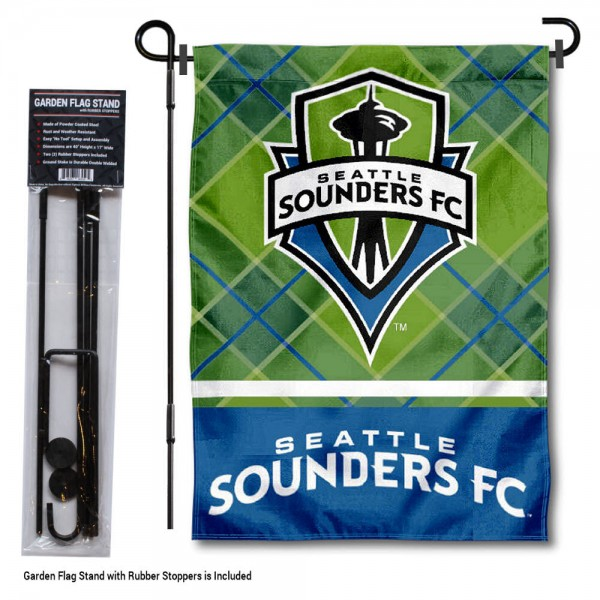 "Seattle Sounders Garden Flag and Flagpole Stand kit includes our 12.5""x18"" garden banner which is made of 2 ply poly with liner and has screen printed licensed logos. Also, a 40""x17"" inch garden flag stand is included so your Seattle Sounders Garden Flag and Flagpole Stand is ready to be displayed with no tools needed for setup. Fast Overnight Shipping is offered and the flag is Officially Licensed and Approved by the selected team."