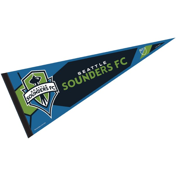 Seattle Sounders Pennant is our Full Size MLS soccer team pennant which measures 12x30 inches, is made of felt, and is single sided screen printed. Our Seattle Sounders Pennant is perfect for showing your MLS team allegiance in any room of the house and is MLS licensed.