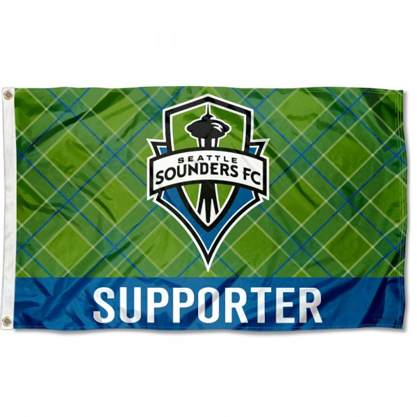 Seattle Sounders Supporter 3x5 Foot Logo Flag measures 3x5 feet and offers quadruple stitched flyends. Seattle Sounders Supporter 3x5 Foot Logo Flag is made of polyester, has two metal grommets, and is viewable from both sides with the opposite side being a reverse image. This Seattle Sounders Supporter 3x5 Foot Logo Flag is Officially Licensed and MLS Approved.