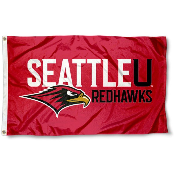 Seattle University Flag measures 3'x5', is made of 100% poly, has quadruple stitched sewing, two metal grommets, and has double sided Team University logos. Our Redhawks 3x5 Flag is officially licensed by the selected university and the NCAA.