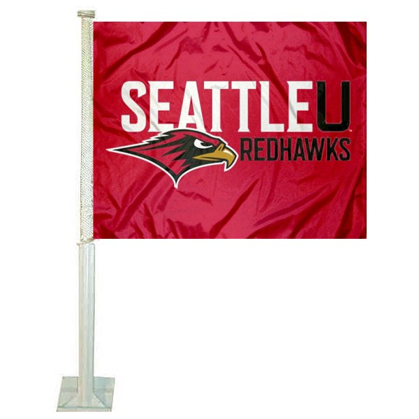 Seattle University Redhawks Car Window Flag measures 12x15 inches, is constructed of sturdy 2 ply polyester, and has dye sublimated school logos which are readable and viewable correctly on both sides. Seattle University Redhawks Car Window Flag is officially licensed by the NCAA and selected university.