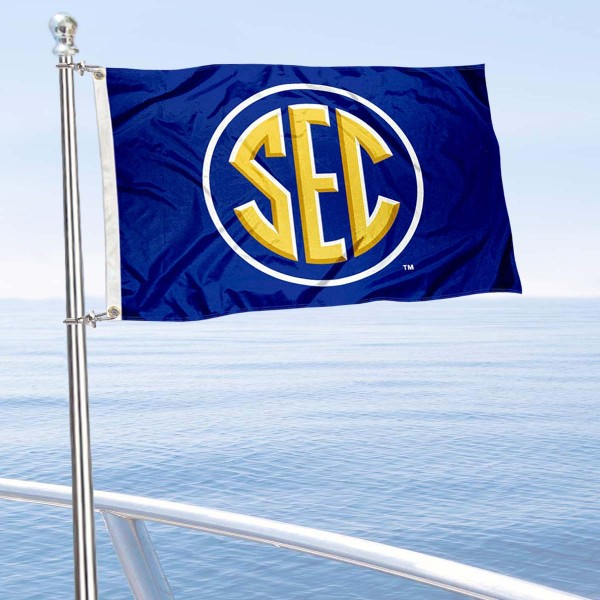 SEC Conference Mini Flag is 12x18 inches, polyester, offers quadruple stitched flyends for durability, has two metal grommets, and is double sided. Our mini flags for SEC Conference are licensed by the university and NCAA and can be used as a boat flag, motorcycle flag, golf cart flag, or ATV flag.
