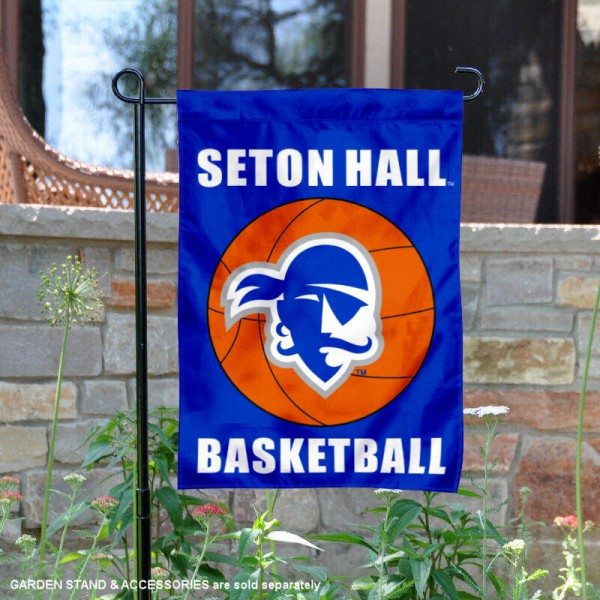 Seton Hall Pirates Basketball Garden Banner is 13x18 inches in size, is made of 2-layer polyester, screen printed athletic logos and lettering. Available with Same Day Express Shipping, Our Seton Hall Pirates Basketball Garden Banner is officially licensed and approved by the school and the NCAA.