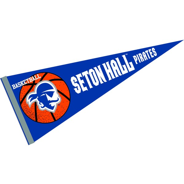 Seton Hall Pirates Basketball Pennant consists of our full size sports pennant which measures 12x30 inches, is constructed of felt, is single sided imprinted, and offers a pennant sleeve for insertion of a pennant stick, if desired. This Seton Hall Pirates Pennant Decorations is Officially Licensed by the selected university and the NCAA.