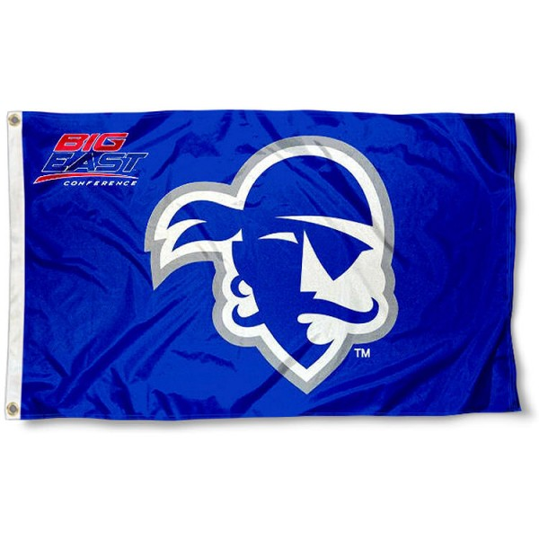 Seton Hall Pirates Big East Flag measures 3x5 feet, is made of 100% polyester, offers quadruple stitched flyends, has two metal grommets, and offers screen printed NCAA team logos and insignias. Our Seton Hall Pirates Big East Flag is officially licensed by the selected university and NCAA.