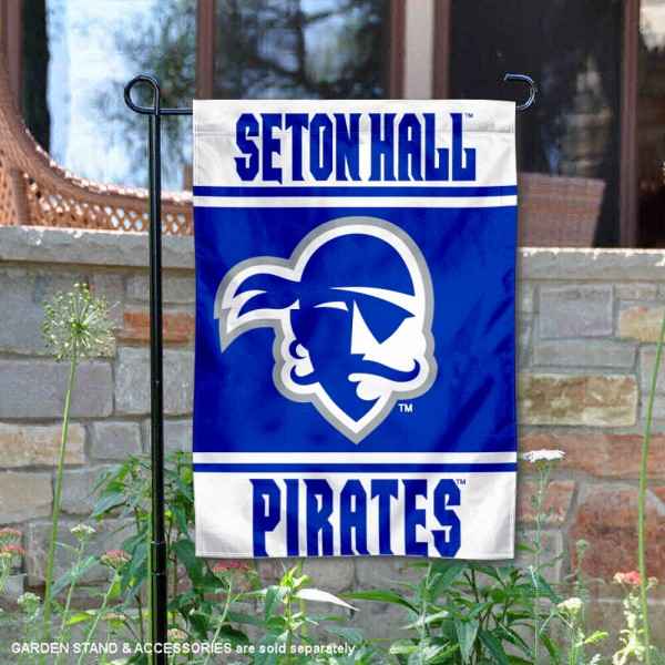 Seton Hall Pirates Garden Flag is 13x18 inches in size, is made of 2-layer polyester, screen printed logos and lettering. Available with Same Day Express Shipping, Our Seton Hall Pirates Garden Flag is officially licensed and approved by the NCAA.