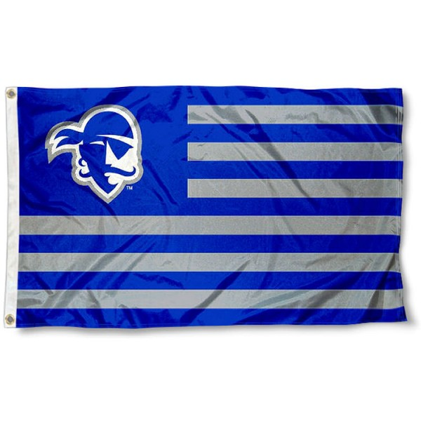 Seton Hall Pirates Stripes Flag measures 3'x5', is made of polyester, offers double stitched flyends for durability, has two metal grommets, and is viewable from both sides with a reverse image on the opposite side. Our Seton Hall Pirates Stripes Flag is officially licensed by the selected school university and the NCAA.