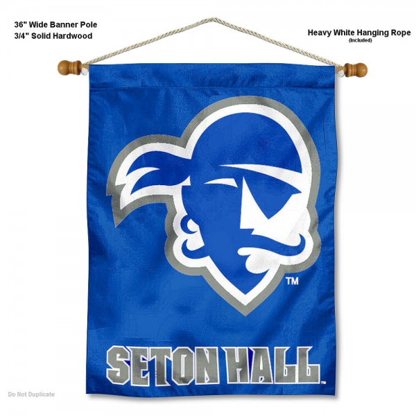 "Seton Hall Pirates Wall Banner is constructed of polyester material, measures a large 30""x40"", offers screen printed athletic logos, and includes a sturdy 3/4"" diameter and 36"" wide banner pole and hanging cord. Our Seton Hall Pirates Wall Banner is Officially Licensed by the selected college and NCAA."