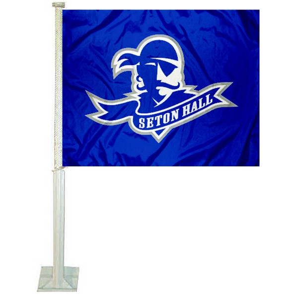 Seton Hall University Car Window Flag measures 12x15 inches, is constructed of sturdy 2 ply polyester, and has dye sublimated school logos which are readable and viewable correctly on both sides. Seton Hall University Car Window Flag is officially licensed by the NCAA and selected university.