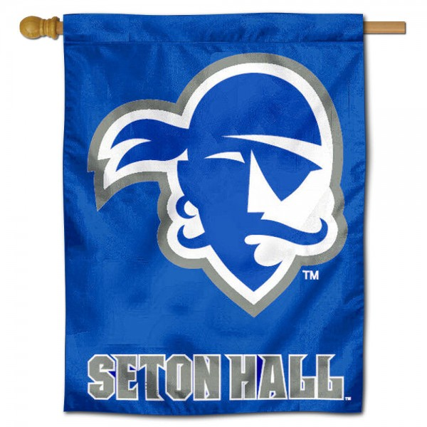 "Seton Hall University House Flag is constructed of polyester material, is a vertical house flag, measures 30""x40"", offers screen printed athletic insignias, and has a top pole sleeve to hang vertically. Our Seton Hall University House Flag is Officially Licensed by Seton Hall University and NCAA."